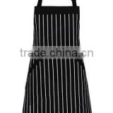 Adjustable Bib Apron with Pockets - Extra Long Ties, Commercial Grade, Unisex - Black/White Pinstripe