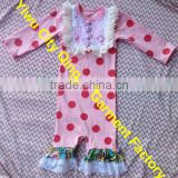 Wholesale Lovely Baby Girl Red Polka Dots With Lace Ruffle Cotton Romper New Arrival Various Styles Baby Girl Romper