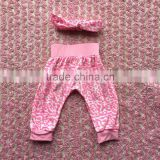 2016 fashion hot sell baby girl 2 pcs light pink pattern clothes baby harem pants with headband