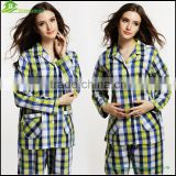 ladies cotton girls grid nightwear pyjama women girls hot pyjamas design ladies pyjamas2PCS/SET , GVBS0004