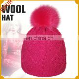 Winter colorful choice children fur ball beanie hat with real fox fur pom poms knit hat