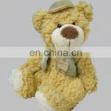 stuffed teddy bear with vest&hat,plush boy animal toy