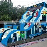 2017 super hero theme inflatable slide for kids ,water slide pvc material use for playground outdoor