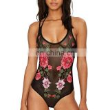 Mika72182 2017 Fashion Women Full Lace Sexy Flower Jumpsuits Halter Straps See Through Mesh Embroidery Bodysuits Black
