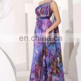 Print Chiffon Evenin Dress One shoulder Flower Chiffon Bridesmaid Long Back Evening Dress