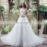 Glamorous Sweetheart Sleeveless Beaded Belt Lace-Up Court Train Organza Wedding Dresses SQS040