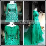 2017 Muslim Long Sleeves and Back Fully Lining Bridal Gown Green Lace Beading A-Line Lace-Up Muslim Wedding Dress Tiamero 1A779