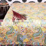 Multicolor Paisley Print King Size Kantha Quilt Reversible Ethnic Art Bedding Indian Vintage Queen Bed Cover