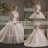 New Beautiful See Through Back Lace Beaded Ball Gown Wedding Dress