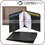 guangzhou factory wholesale genuine leather RFID blocking money clip card holder wallet with six card slots for men