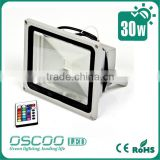 China Oscoo Manufacturer Hot IP65 Die Casting Aluminium CE&Rohs 30 Watt Red-Green-Blue LED Flood Light