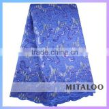 African Embroidered lace fabric with Rhinestones 100%polyester organza lace with eyelet OG0173 royal blue