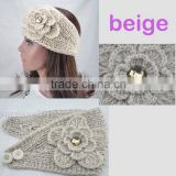 Fashion Beige Knit Elastic Lady Hair Headband