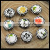 LFD-0049B Wholesale Ceramics Beads Round Mixed Color Flower Pattern Pave Rhinestone Crystal Paved Connector Beads Finding