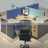 Modern Office Blue Top Partition Cubicles X Shape 4 person workstation furniture (SZ-WS031)