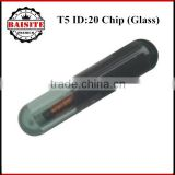 Factory price!!50pcs/lot glass t5 id20 transponder chip,Unlocked id t5 transponder chip on hot sales in stock