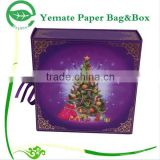 Christmas tree printed flat pack rectangle small folding Christmas gift paper cardboard packaging box with ribbon