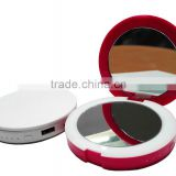 Double sided round portable led makeup mirror with power bank 2600maAh