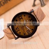 Best selling products simulation wooden leather strap wood wristwatches for men women lady watches