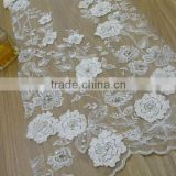swiss embroidery3D flower lace with sequins and stone /bridal dress /wholesale/china manufactory