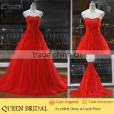 Latest Style Sweetheart Appliqued Lace Patterns Beautiful Ball Gown Red Wedding Dresses