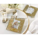 Wholesale Square blank gloden color glass coaster with insert photo frame for wedding return gifts