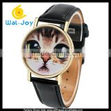 WJ-5340 big eyes cat face personality leather strap quartz fancy lovely women wrist watch