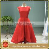 ASAM-10 High Front Lower Back Ball Gown Cap Sleeves Lace Open Back Red Evening Dresses                                                                         Quality Choice
