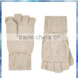 beige rib and purl capped women knitting gloves mitten