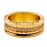 Gold plated jewelry sets wholesale rotating ceramic diamond fashion cheap new model latest wedding ring