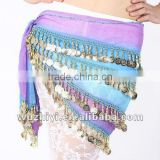 Fashion and sequin four layer gold coin belly dance hip scarf, colorful gold coin belly dance belts,bellydance hipscarf(YL049)