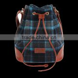 High-grade quality checked pattern tweed drawstring bag