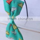 beautiful colorful triangle printed fabric bow hairbands