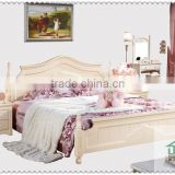 New arrival white bed HA-825# indian wood double bed designs pictures of bed in wood 1.8m wooden bed models