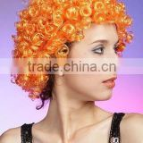 cheap football fans wig, synthetic soccer hair wigs with light up