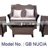 High Class Rattan Living Room Wing Chair Sofa Set For Home Furniture With Antique Look