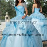 Hot sale appliqued sweetheart short sleeve custom-made Quinceanera dress CWFab3715