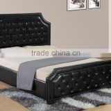 High quality luxury new style PU bed with button and copper nails headboard