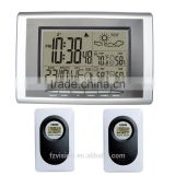 Digital weather station table clock with 2 transmitters for weather forecast