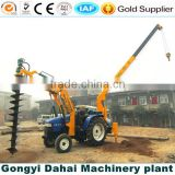 Wheeled type tractor mounded crane with drilling machine for 6 meters depth hole drilling