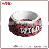 Rubber ring bottom customized printing plastic pet bowl, dog bowl