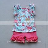 boutique outfits kids girl ruffle shirts soft tank top icing shorts 2pcs little summer sets
