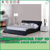 European modern style black leather bed LB1109
