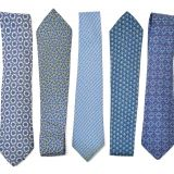 Classic Strips Blue Polyester Woven Necktie Classic Strips Shirt Collar Accessories