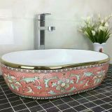 Factory ceramic oval golden basin sink