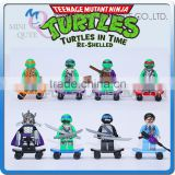Mini Qute DECOOL 8pcs/set Anime Cartoon Model boys Ninja Turtle building block action figure educational toy NO.501-508