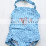 Blue or Pink Gingham One Piece Baby Girls Ruffled Swimsuit