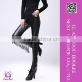 2016 women leggings fashion girl tassel leather leggings sexy punk pants