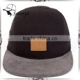 Design your own black leather snapback cap/blank corduroy flat brim 5 panel snapback cap