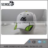 Fashion Design Six Panels white ang green embroidered Cotton baseball cap                                                                         Quality Choice